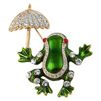 Frog With Umbrella Painted Gold Pin