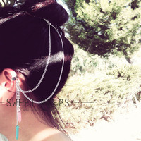 Silver Ear Cuff Hair Comb with Pink and Turquoise Howlite Stones