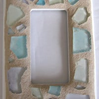 Sea Glass Mosaic Switch Plate / Single Gang Switch Plate / Mosaic Switch Plate / Sea Glass Art / Beach Glass / Outlet Cover / Switch Cover