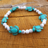 ON SALE Turtle Bracelet, Howlite Turquoise Turtles Lucky Turtles White Howlite Bracelet Bohemian Turquoise Bracelet Gifts For Her