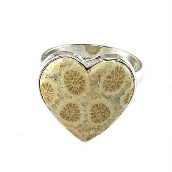 Fossilized Coral Sterling Silver Heart Ring