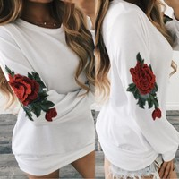 Hoodies Tops Winter Floral Embroidery Long Sleeve Pullover Jacket Women's Fashion One Piece Dress [11850013071]