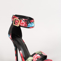 Wild Diva Floral Ankle Cuff Buckle Open Toe Heel Color: Black-floral, Size: 7.5