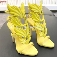 Lynskey Summer Women High Heels Winged Leaves Cut-outs Stiletto Heel Gladiator Sandals Flame Party Sandal Shoes Woman