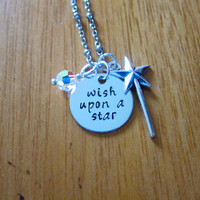 """Pinocchio Inspired Necklace. Jiminy Cricket """"Wish Upon A Star"""" Necklace. Swarovski crystal, for women or girls. Hand stamped."""