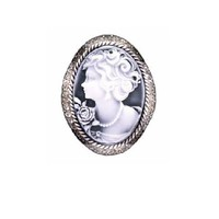 Vintage Cameo Brooch Oxidized Black Diamond Crystals Mothers Day Gift