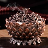 2016 New Arrival Copper Lotus Incense Burner Alloy Mini Tibetan Incense Burner Sandalwood Censer Home Decor
