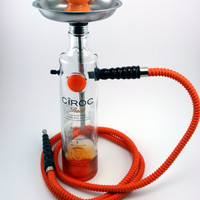 Ciroc Peach 1.75l Orange Bottle Shisha Hookah With Matching Hose, Tray, and Bowl