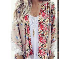 Women Lace Loose Long Sleeve Outerwear Jacket _ 12559