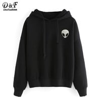 Dotfashion Casual Wear Pullovers Women Clothing Alien Print Hooded Long Sleeve Fashion Sweatshirt