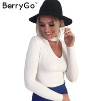 BerryGo Autumn winter black halter knitted sweater White sexy pullover women tops Slim v neck long sleeve chic jumper pull femme