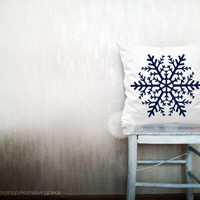 Snowflake pillows holiday decorative throw pillows snow pillows winter pillows throw Christmas pillows holiday decor 24x24 inches pillows