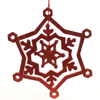 Christmas GLITTERED SNOWFLAKE Plasitc Three Dimentional Hanging 6642 Red
