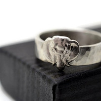 Engravable Elephant Ring, Handforged Silver Animal Ring, Custom Engraving, Animal Jewelry, Personalized Ring