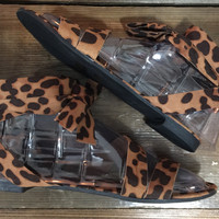 """On the Wild Side"" Leopard Print Wrap Sandals"