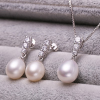 Jewelry Sets 925 sterling silver jewelry Necklace Pendant Earrings 100% real natural pearl jewelry