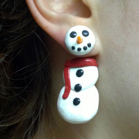 Snowman Earrings, surgical steel posts, polymer clay jewelry