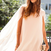 Epic Elegance Cape Dress Chiffon - Blush
