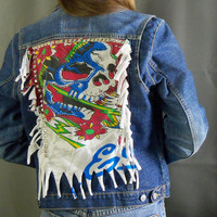 Hand-Studded Spiked Fringe Skull Levi Jacket size JR Large