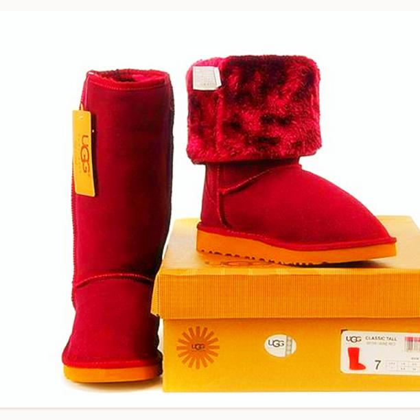 """Image of """"UGG"""" Women Fashion Wool Snow Boots simple high boots Red"""