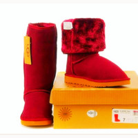 """UGG"" Women Fashion Wool Snow Boots simple high boots Red"