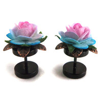 BLACKLIGHT Cheater Plugs - 8mm Ombre Roses - Stainless Steel