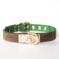 Emerald Green Dog Collar with Chocolate Leather + Green and Yellow Spike Stitching
