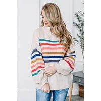 Classic Cowl Neck Striped Sweater