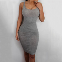 Gray Sleeveless Bodycon Dress