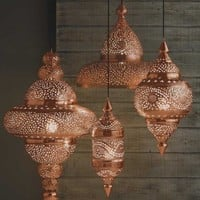 Bright Copper Moroccan Hanging Lamp - Candles & Lights - Home Accessories - VivaTerra