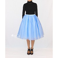 Clarisa Ombre Tulle Skirt - Serenity Blue, Tea Length