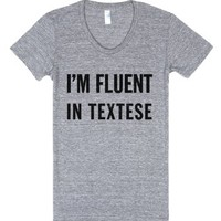 text fluent-Female Athletic Grey T-Shirt
