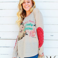 Let's Have a Country Christmas Ya'll Tan Shirt with Red Lace Elbow Accent Sleeves