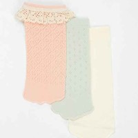 Ecote Pointelle Ruffle No-Show Sock - Pack Of 3- Multi One