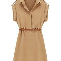 Khaki Turn Down Collar Mini Dress