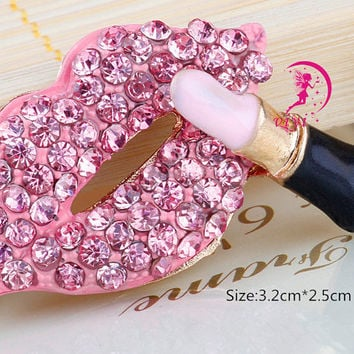 1pcs Bling Pink lips cabochon makeup decoden kiss mark Kawaii phone case deco metal hot pink / jewelry making/DIY cell phone case decoration