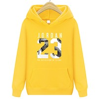 Jordan New fashion letter people print hooded long sleeve sweater Yellow