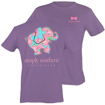 Simply Southern Preppy & Happy Rose Elephant T-Shirt