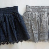 NWT Abercrombie & Fitch by Hollister Women Floral Lace Mini Skirt Navy Gray S