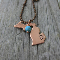 Michigan Necklace with Hammered Edges and Heart Stamped over Detroit with Turquoise Stone