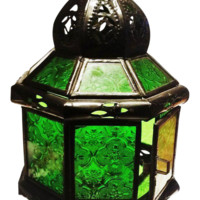 Moroccan Pendant Lantern - Octagon Arabesque Glass & Tin Hanging Lantern