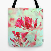 summer pink flowers. botanical art.  floral photo art. Tote Bag by NatureMatters