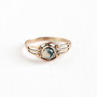 Antique 9k Rose Gold Moss Agate Cabochon Ring - Vintage Victorian 1890s Size 3 Clear & Green Gem Midi Pinky Filigree Fine Jewelry
