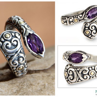 Artisan Crafted Sterling Silver an Amethyst Wrap Ring - Budding Lily | NOVICA