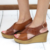 Brooke Criss Cross Crocodile Accent Wedges {Tan}