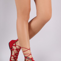 Suede Caged Lace-Up Pointy Toe Ballet Flat