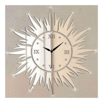 Wall Clock Living Room Decoration Mirror Sun