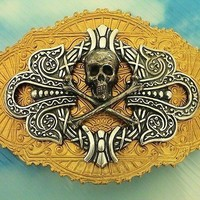 Pirate  Skull  and  Crossbones  Handmade   Barrette Made in France Clip Ready to ship