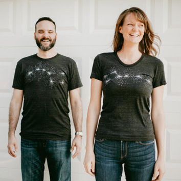 Big Dipper Little Dipper Tshirt set, graphic tees for men and women, his and hers shirts, gift for couples, astronomy t shirt, outer space