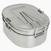 Silver Simple Square Stainless Steel Food Container Bento Lunch Box 2 layer About 1.05L About 16.5 X 12.5 X 7.3cm